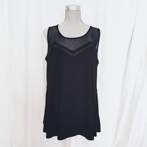MXM mesh tank top with bead applique size 1X